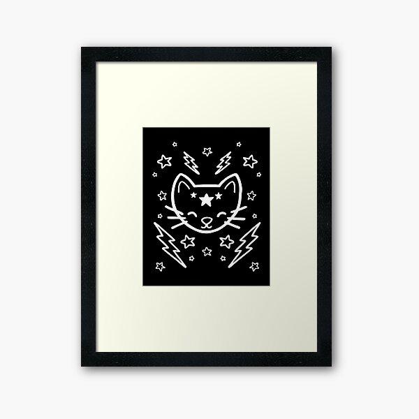 Mystic Cat - White Framed Art Print