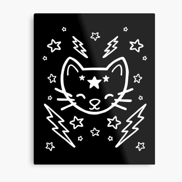 Mystic Cat - White Metal Print