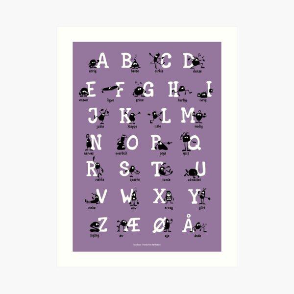 Alfabet - Lilla  Art Print