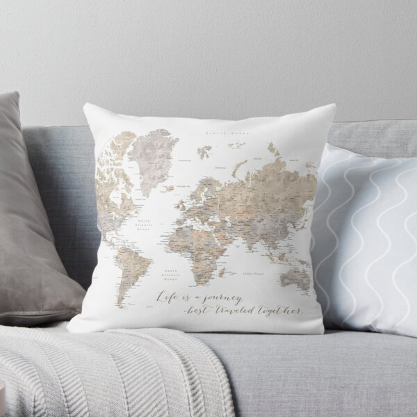 """Life is a jouney best travelled together, world map, """"Abey"""" Throw Pillow"""