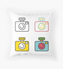Camera with flash flat simple line icons set. Throw Pillow