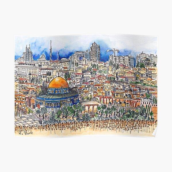 Blick vom Ölberg auf Jerusalem Poster