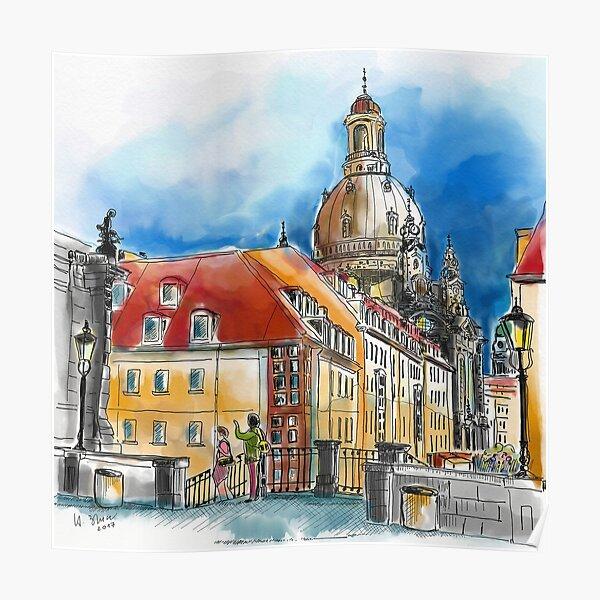 Dresden Blick über die Münzgasse zur Frauenkirche Poster