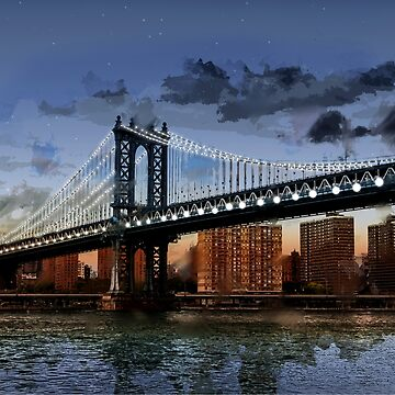 Twilight at Manhattan Bridge NYC with Twinkling White Lights by ElainePlesser