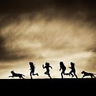 Silhouettes of running Girls and Dogs  by McCall-Images
