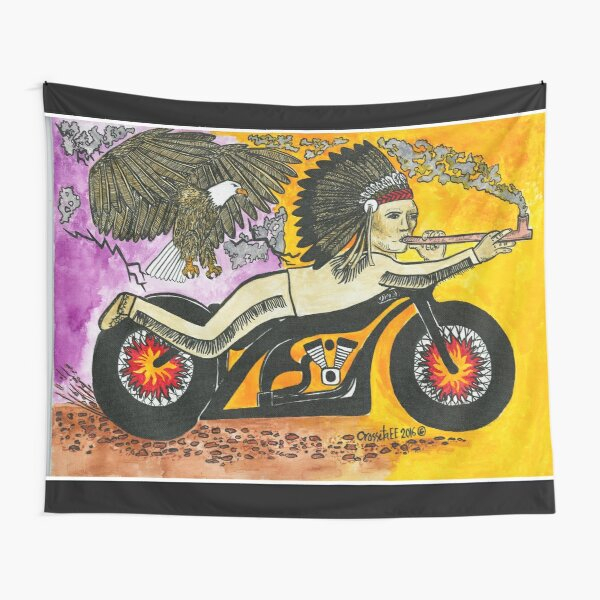 Chief Peace pipe Biker Tapestry