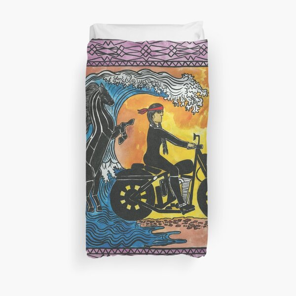 Water Woman biker Duvet Cover