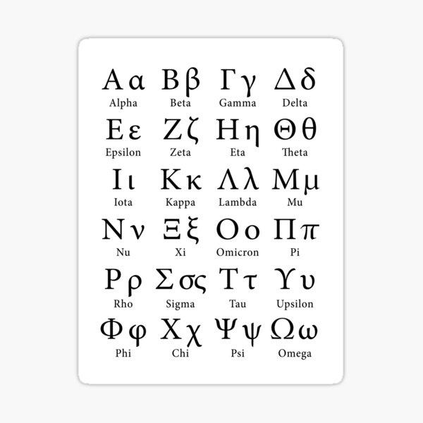 The Greek Alphabet Sticker