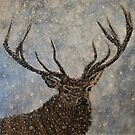 Not Afraid of the Snow - Stag in Snow  by EuniceWilkie