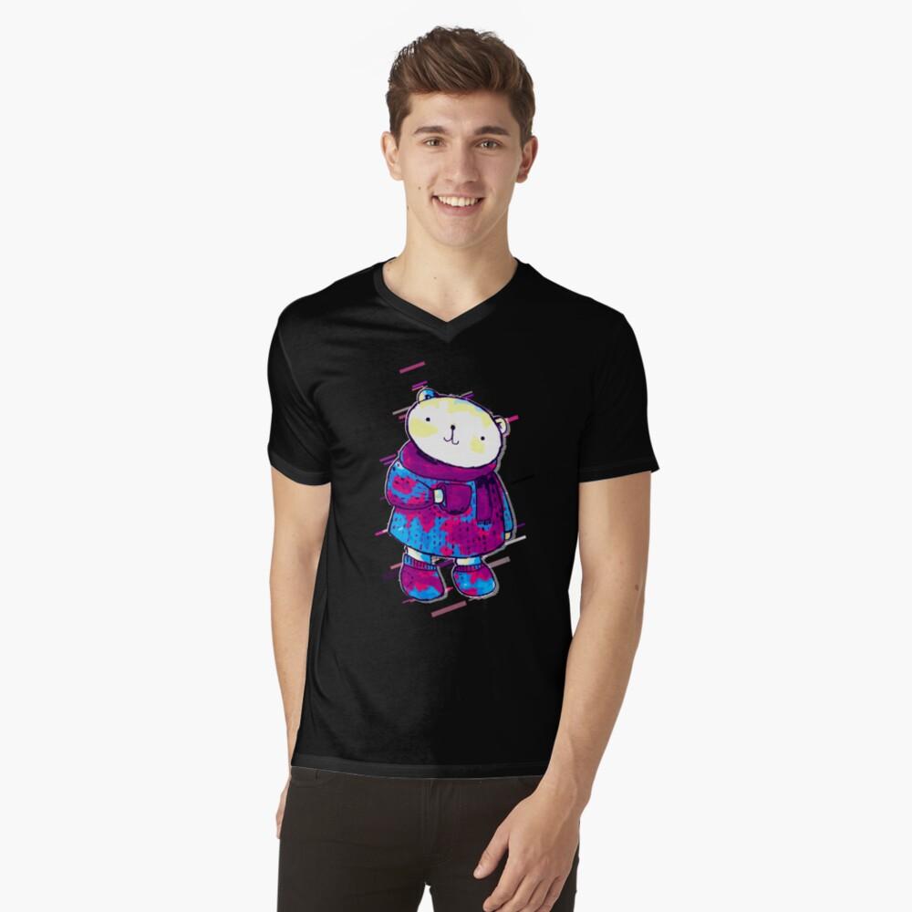 Polar bear cute bear Eighties Retro Violet and Purple Camiseta de cuello en V