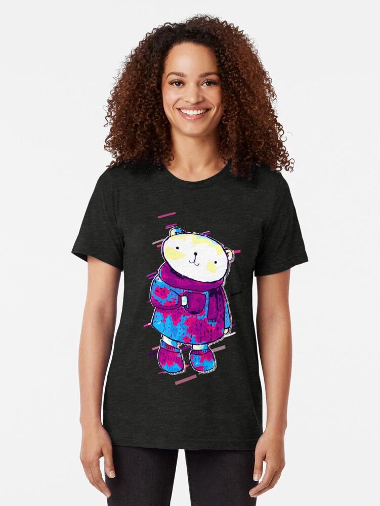 Vista alternativa de Camiseta de tejido mixto Polar bear cute bear Eighties Retro Violet and Purple