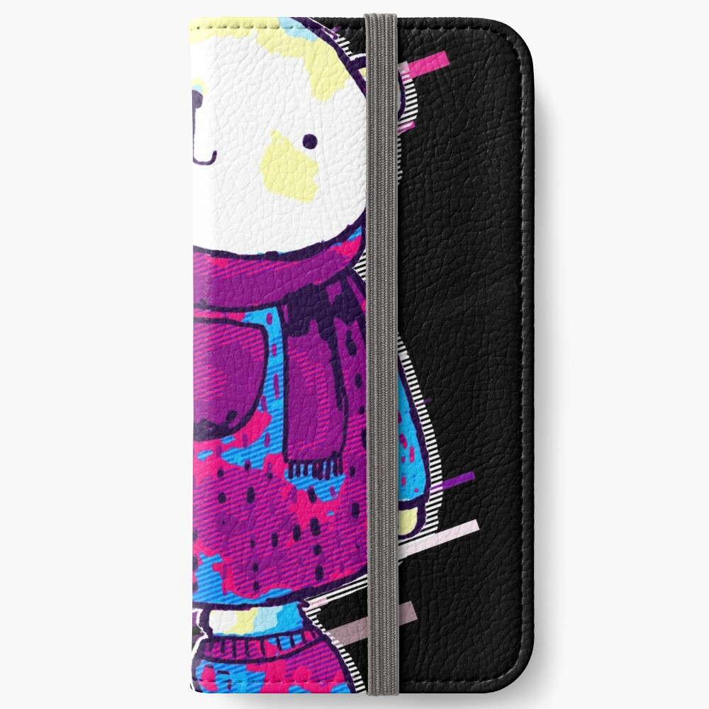 Polar bear cute bear Eighties Retro Violet and Purple Fundas tarjetero para iPhone
