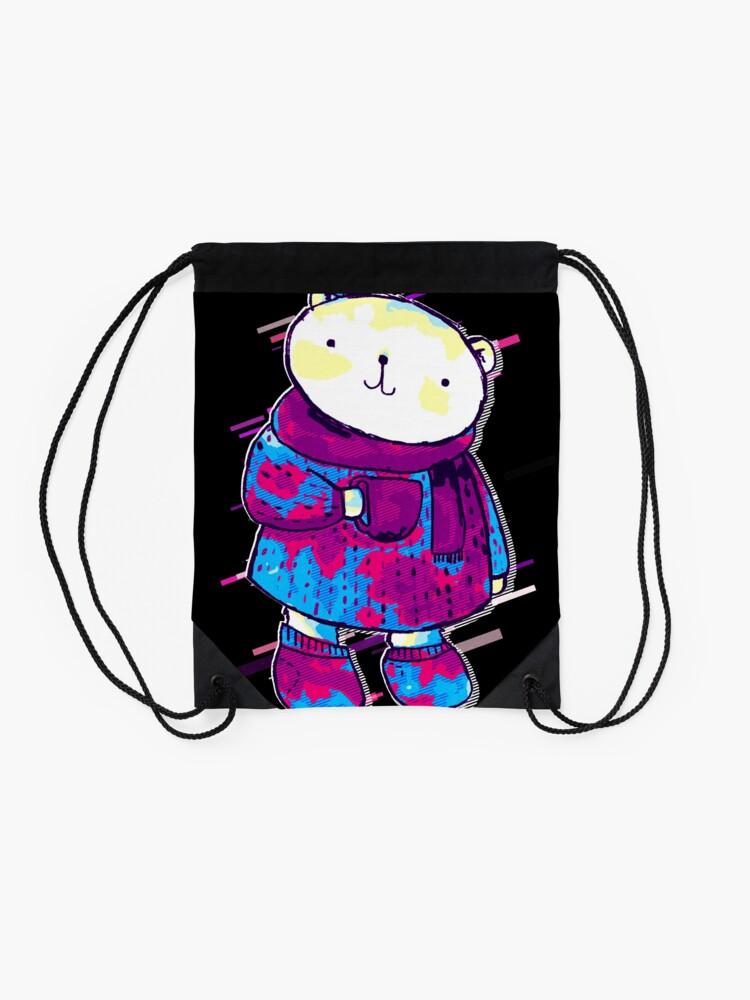 Vista alternativa de Mochila saco Polar bear cute bear Eighties Retro Violet and Purple