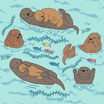 Sea Otters - cute animal pattern by Cecca Designs by Cecca-Designs