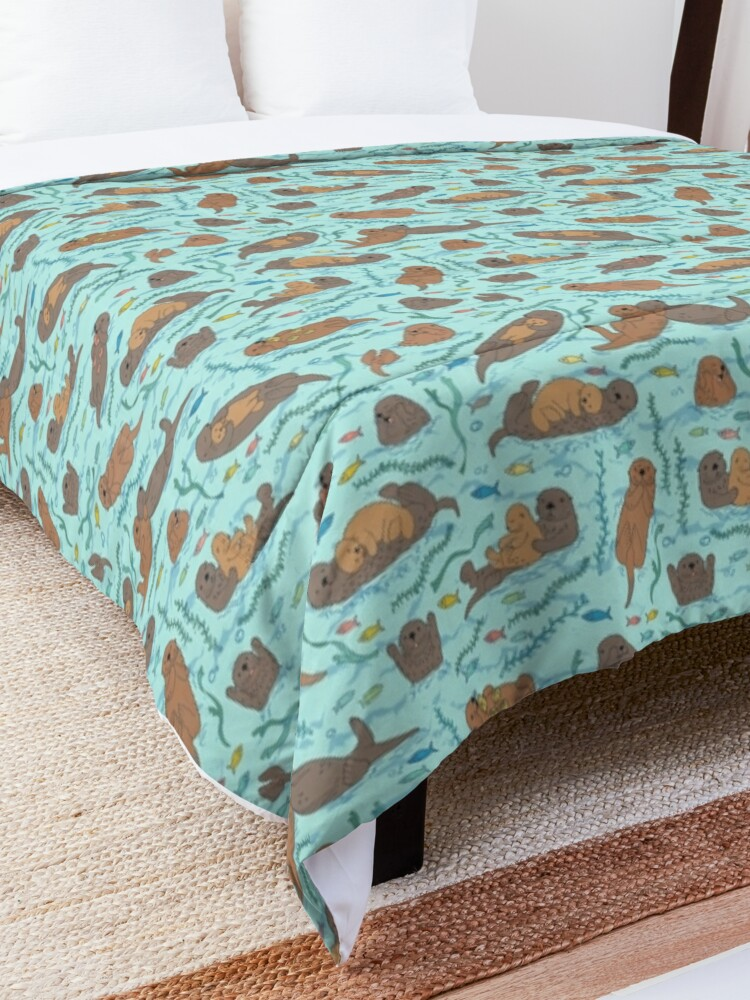 Alternate view of Sea Otters - cute animal pattern by Cecca Designs Comforter