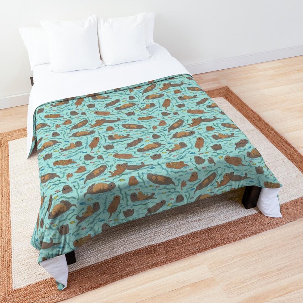 Sea Otters - cute animal pattern by Cecca Designs Comforter