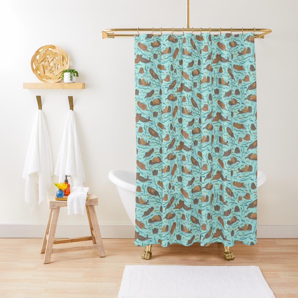 Sea Otters - cute animal pattern by Cecca Designs Shower Curtain