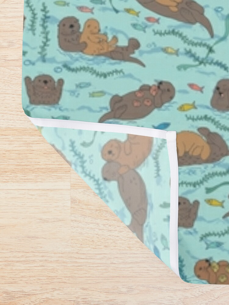 Alternate view of Sea Otters - cute animal pattern by Cecca Designs Shower Curtain