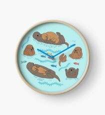 Sea Otters - cute animal pattern by Cecca Designs Clock