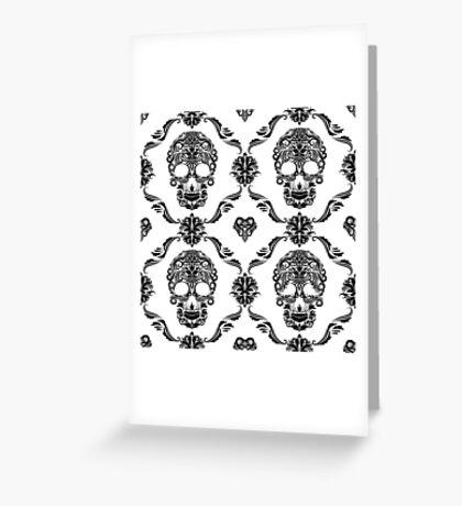 Black Floral Sugar Slull Greeting Card
