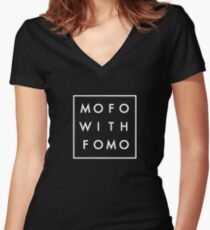 Mofo with Fomo square Women's Fitted V-Neck T-Shirt