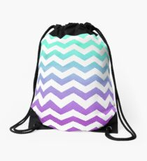 Purple Mint Aqua Ombre Chevron Pattern Drawstring Bag