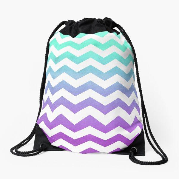 Purple Mint Aqua Ombre Chevron Pattern Drawstring Bag