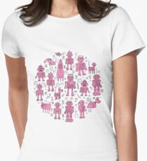 Robot Pattern - pink and white - fun pattern by Cecca designs Women's Fitted T-Shirt