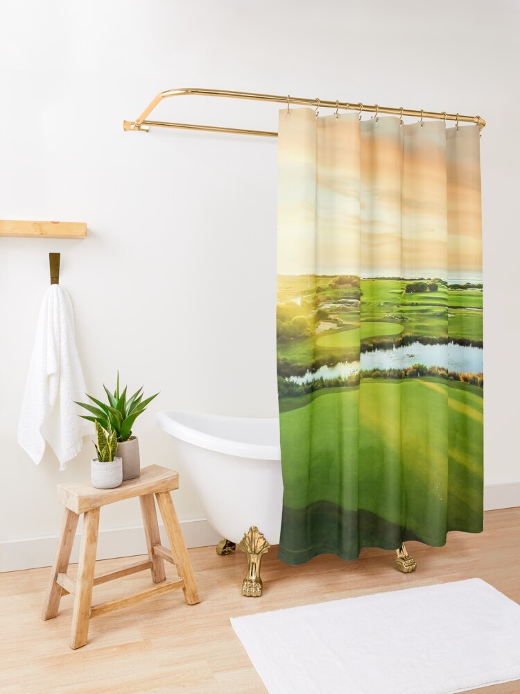 Alternate view of Golfing the Gong - Grand Vista Shower Curtain