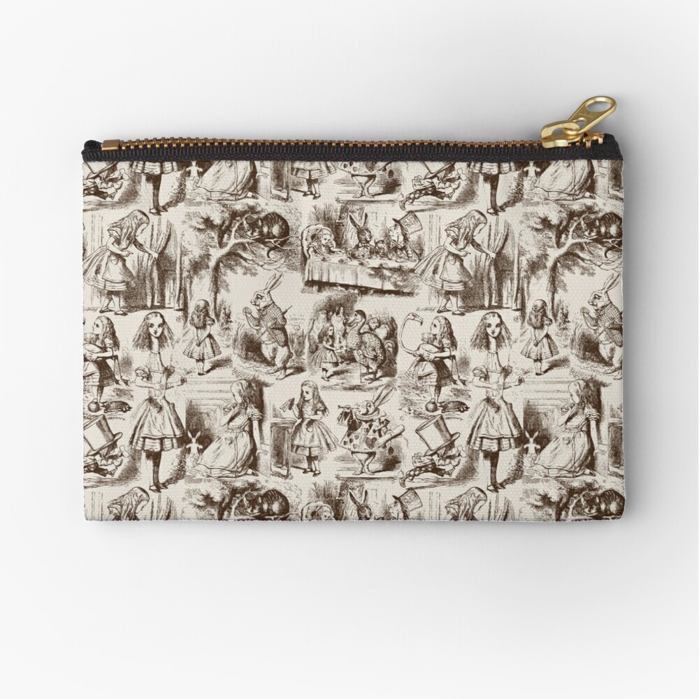 Alice in Wonderland | Toile de Jouy | Toile Pattern | Beige and Chocolate Brown | Vintage Alice | Zipper Pouch