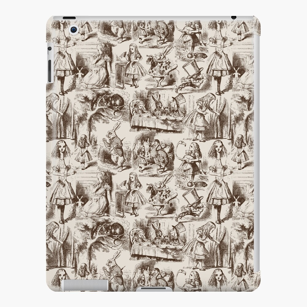 Alice in Wonderland | Toile de Jouy | Toile Pattern | Beige and Chocolate Brown | Vintage Alice | iPad Snap Case