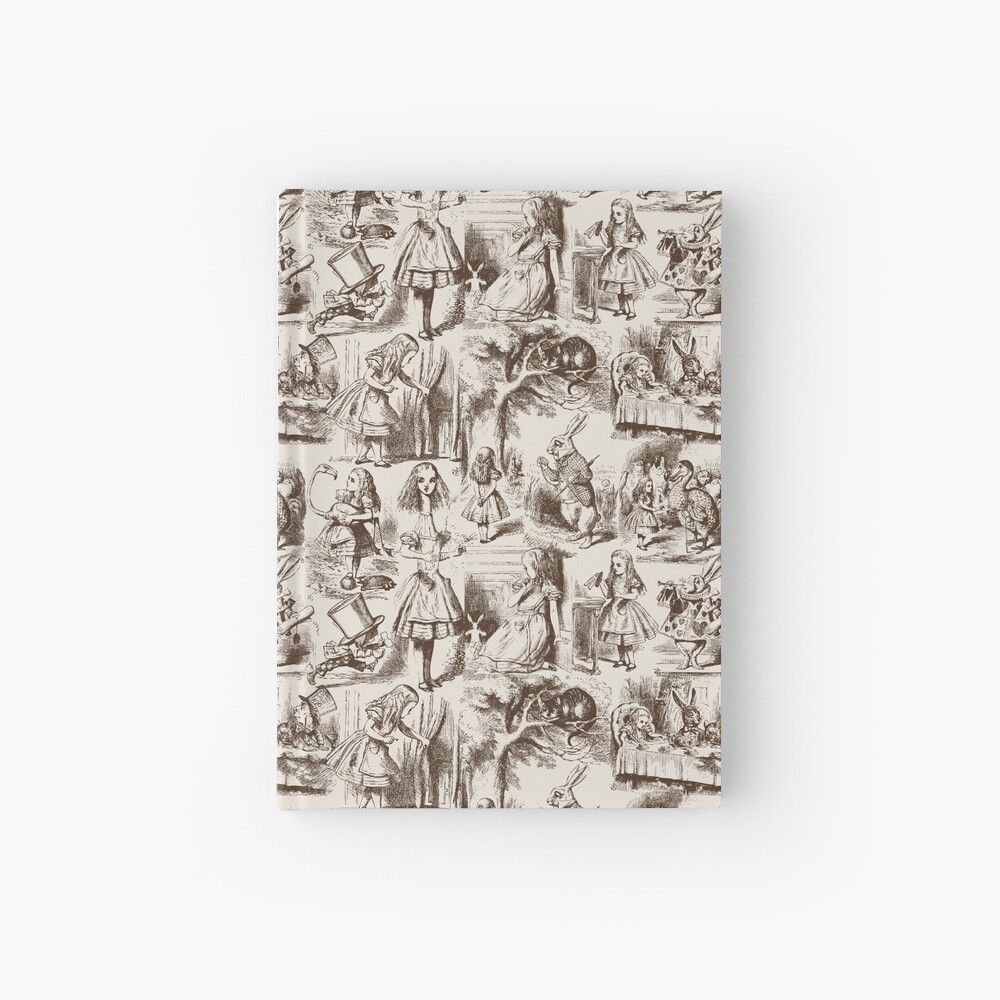 Alice in Wonderland | Toile de Jouy | Toile Pattern | Beige and Chocolate Brown | Vintage Alice | Hardcover Journal