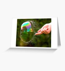 Green Bubble Popping (One-Sided Reflection!) Greeting Card