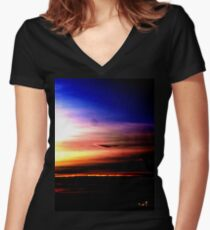 Northern Sunset Women's Fitted V-Neck T-Shirt