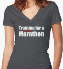 Training für einen [netflix] Marathon Shirt mit V-Ausschnitt