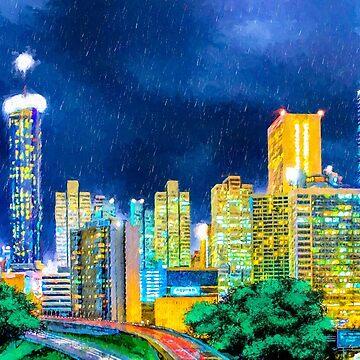 Atlanta Skyline In The Rain by marksda1