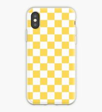 Mustard Yellow and White Checkerboard iPhone Case