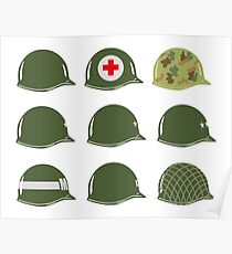 US Army Helmets WW2 Poster