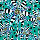 Pinwheel Flowers on Light Teal by RC-aRtY