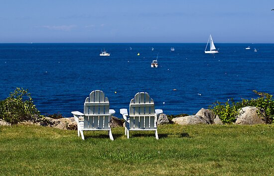 Quot Adirondack Chairs By The Ocean Quot Posters By Monica M