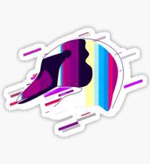 Swan animal Eighties Retro Violet and Purple Sticker