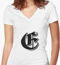 """Fifth Letter"" (Olde English) Women's Fitted V-Neck T-Shirt"