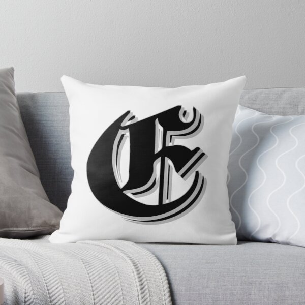 """Fifth Letter"" (Olde English) Throw Pillow"