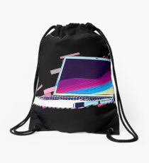 Notebook laptop Eighties Retro Violet and Purple Drawstring Bag