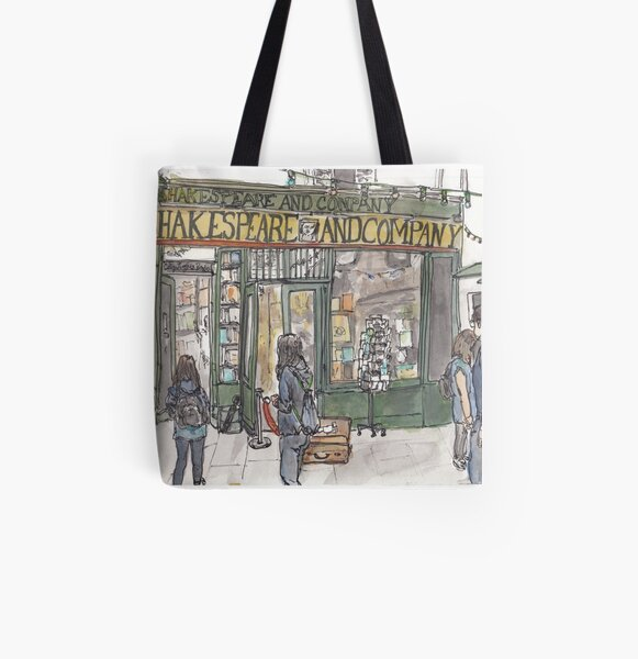 Shakespeare & Co. in Paris All Over Print Tote Bag