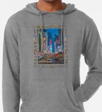 Times Square & Broadway (poster on white) Lightweight Hoodie