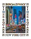 Times Square & Broadway (poster on white) by Ray Warren