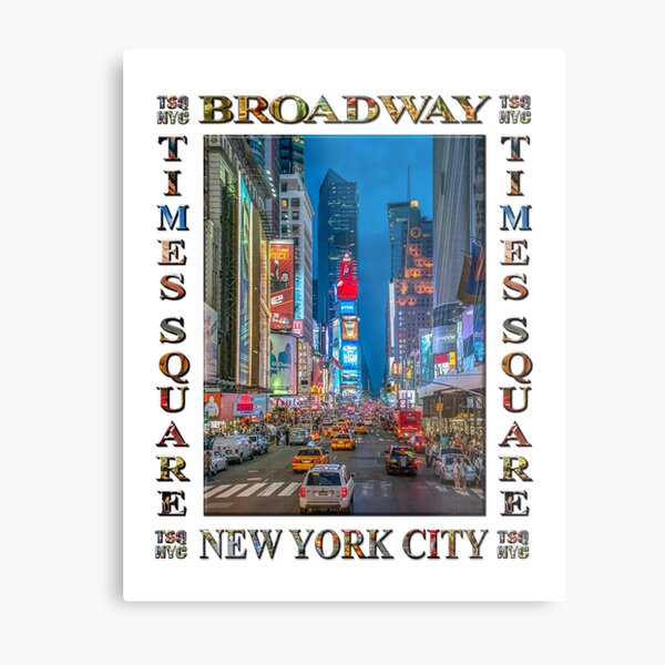 Times Square and Broadway (poster on white) Metal Print