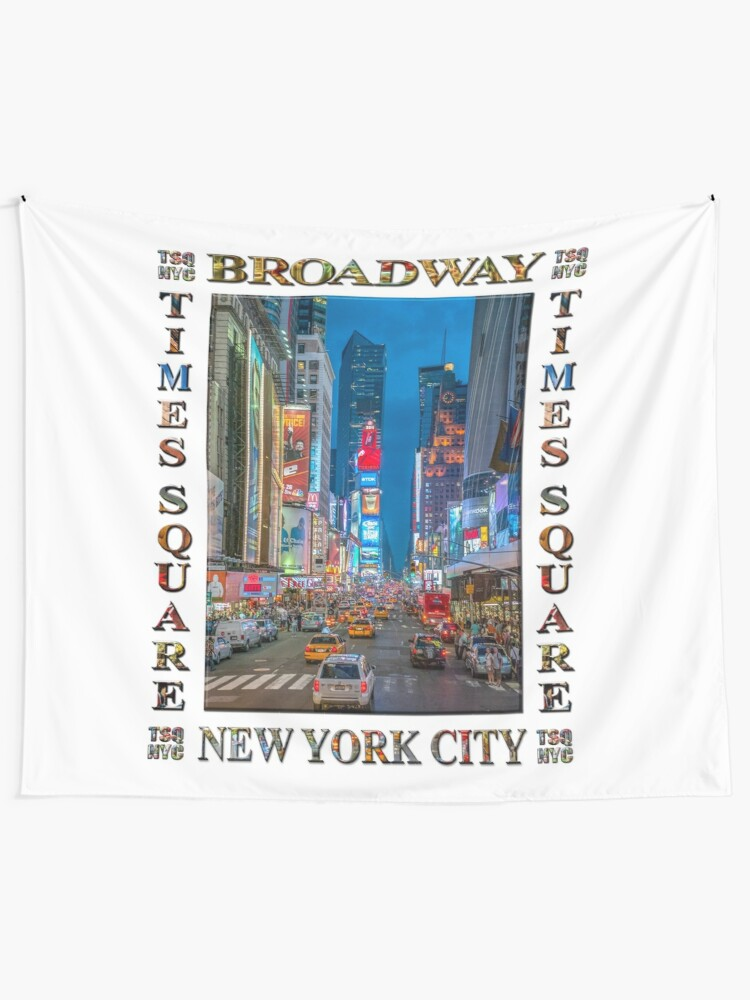 Alternate view of Times Square & Broadway (poster on white) Tapestry