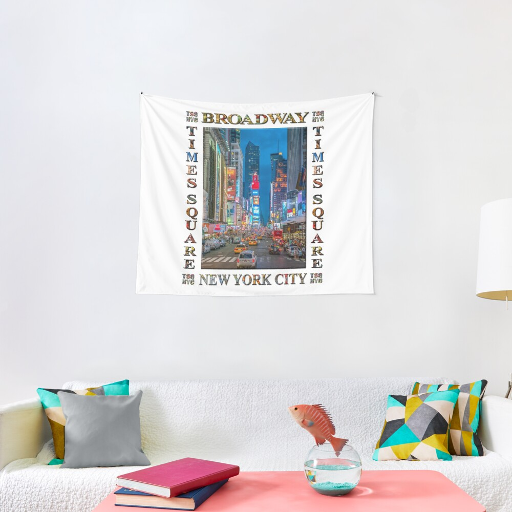 Times Square & Broadway (poster on white) Tapestry